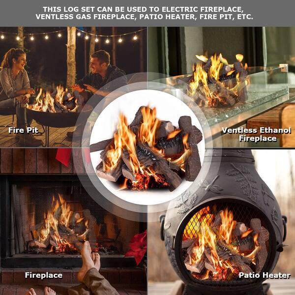 Costway 10pcs Ceramic Wood Logs Gas Fireplace Imitation Wood Propane Overstock 18502705
