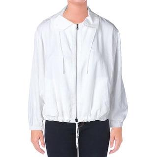 Lauren Ralph Lauren Womens Cassandra Basic Jacket Smocked Adjustable Waist - m