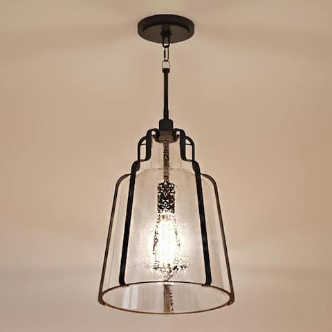 """Luxury Industrial Chic Pendant Light, 16.75""""H x 12.5""""W, with Urban Loft Style, Antique Black, UQL3600 by Urban Ambiance"""