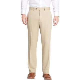 Michael Kors MK Mens Beige Khaki Flat Front Dress Pants Hemmed Trousers
