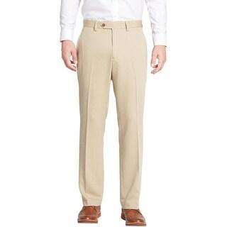 Michael Kors MK Mens Beige Khaki Flat Front Dress Pants Hemmed Trousers