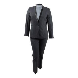 Tahari ASL Women's Plus Size Faux-Leather-Trim Pantsuit - Charcoal Grey
