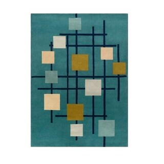 9 x 12 Sailing Breeze Away Gold, Cream, and Turquoise Blue Wool Area Throw Rug