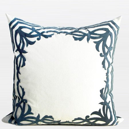 """G Home Collection Luxury Sky Blue European Frame Embroidered Pillow 22""""X22"""""""