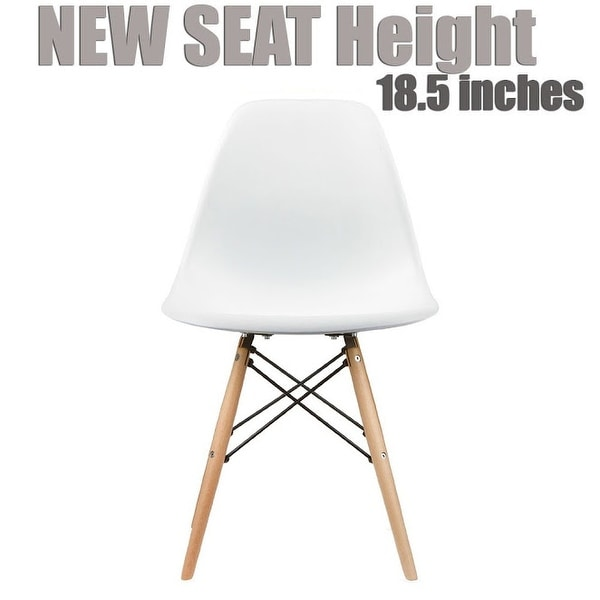 2xhome Modern Side Dining Chair White With Natural Wood Legs