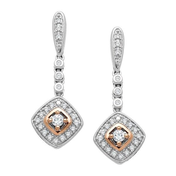 1/4 Diamond Drop Earrings in 10K Two-Tone Gold
