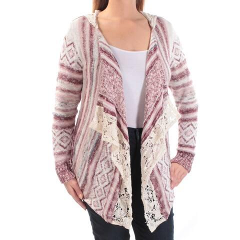 AMERICAN RAG Womens Ivory Striped Long Sleeve Open Sweater Size: L