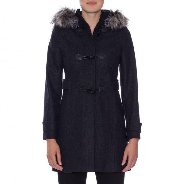 Nautica Faux Fur Trim Toggle Coat