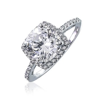 Bling Jewelry Vintage Style Sterling Silver Cushion Cut CZ Engagement Ring