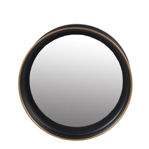 Metal Wall Round Mirror With Raised Edges, Small, Black and Bronze