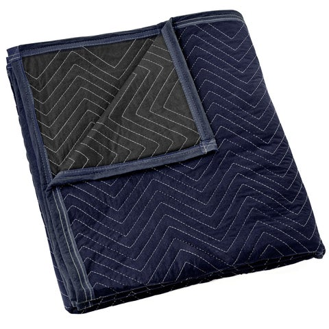 """Moving Blanket Furniture Pad - Pro Economy - 80"""" x 72"""" Navy Blue and Black - Navy blue"""