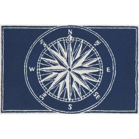 Liora Manne Frontporch Compass Indoor/Outdoor Rug Navy 8' RD - 8' RD