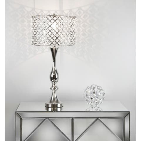 Silver Orchid Crystal Bling Shade 27.5-inch Table Lamp