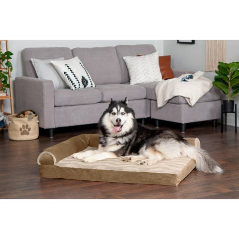 FurHaven Wave Fur & Velvet Deluxe Chaise Lounge Orthopedic Sofa-Style Dog Bed