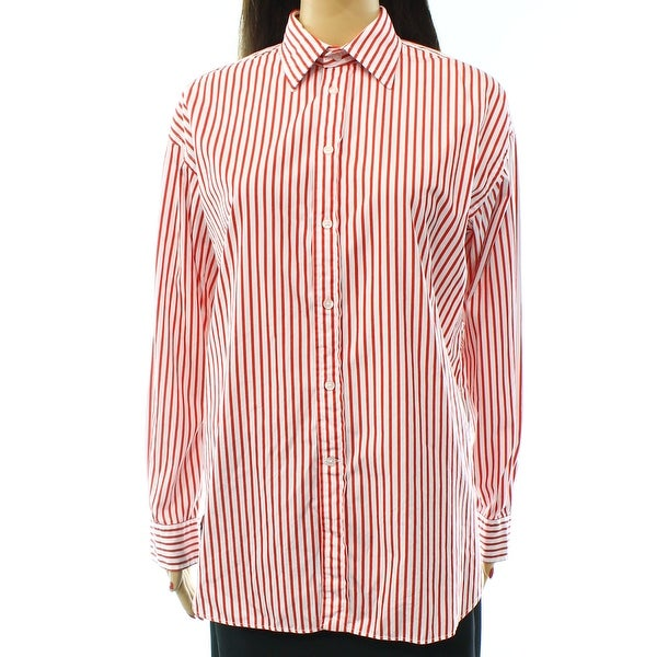 459e23da46 Shop Polo Ralph Lauren NEW White Women's Size 12 Striped Button Down Shirt  - On Sale - Free Shipping Today - Overstock - 16773946