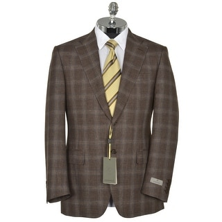 Canali Linen and Wool Brown Plaid 2-Button Sportcoat 40 Regular 40R