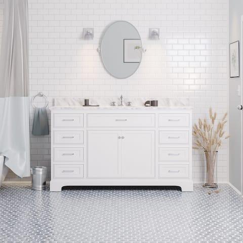"KitchenBathCollection Aria 60"" Single Bathroom Vanity with Carrara Marble Top"