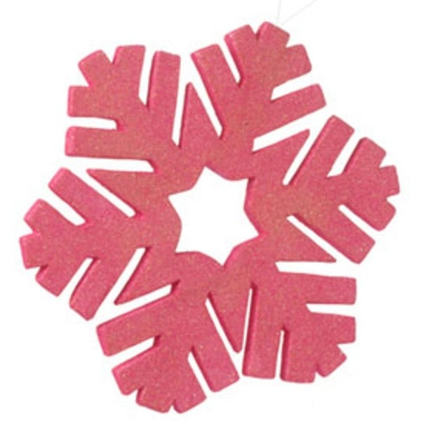 "12"" Oversized Pink Glitter Snowflake Christmas Ornament"