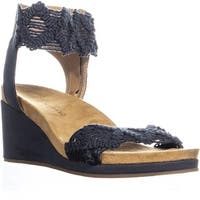 Lucky Brand Kierlo Ankle Strap Wedge Sandals, Moroccan Blue - 7 US / 37.5 EU