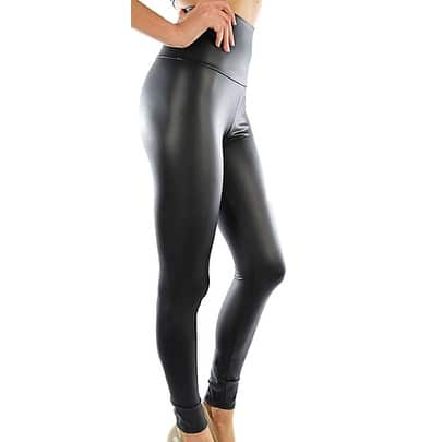 Funfash Plus Size Pants New High Waist Pleather Black Skinny Leggings