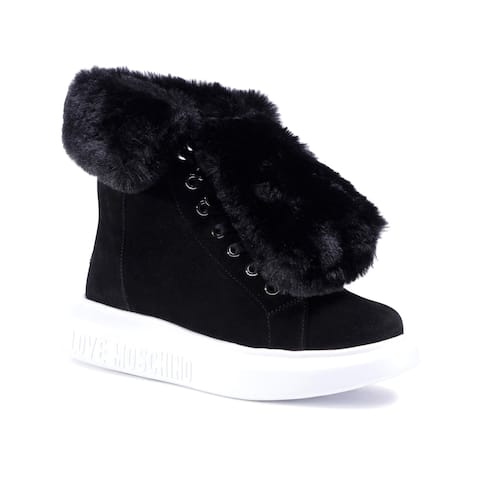 Love Moschino Women's Suede Leather Fur Trainers Black