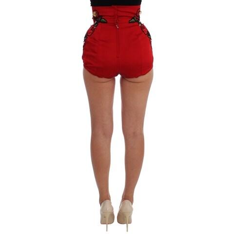 Dolce & Gabbana Dolce & Gabbana Red Silk Crystal Roses Shorts
