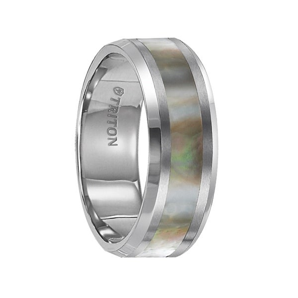 HADLEY Beveled Edge Tungsten Carbide Comfort Fit Band with Abalone Shell Inlay by Triton Rings - 8 mm