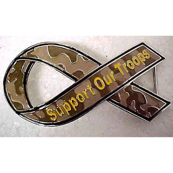 Camouflage `Support Our Troops` Ribbon Belt Buckle