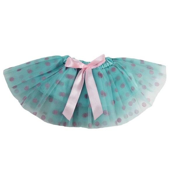 Baby Girls Aqua Pink Polka Dots Satin Elastic Waist Ballet Tutu Skirt 0-12M - 0-12 months