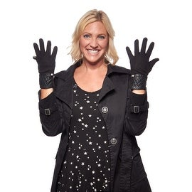 Quilted Queen Etouch Jersey Knit Gloves with Leather Cuff
