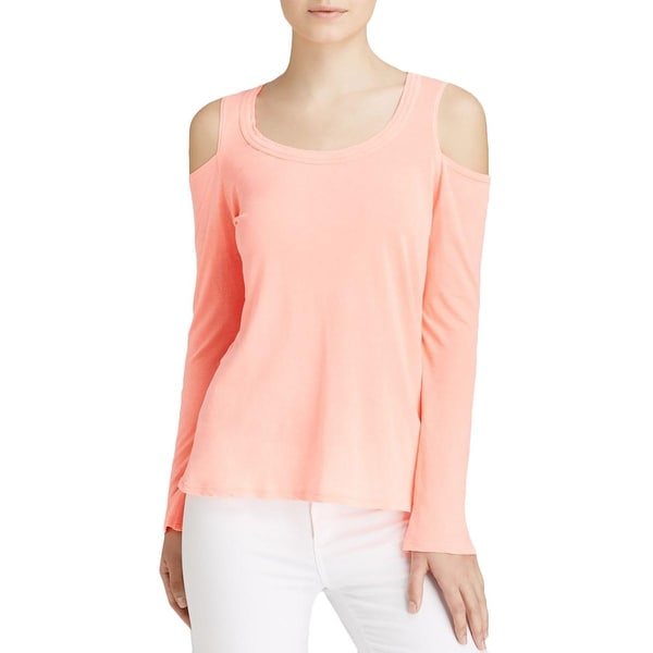 Splendid Womens Casual Top Slub Open Shoulder