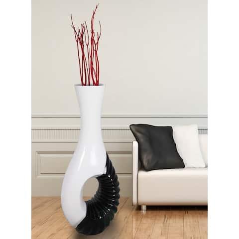 Modern Black/White Large 43-inch Floor Vase