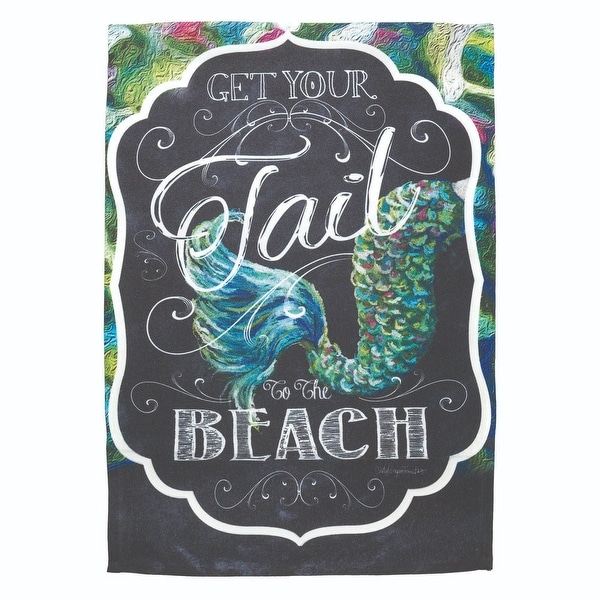 "13""x 18"" Mermaid Tail ""Get Your Tail To The Beach"" Garden Flag - N/A"