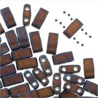Miyuki Half Tila 2 Hole Rectangle Beads 5x2.3mm - Matte Metallic Copper 7.8 Grams