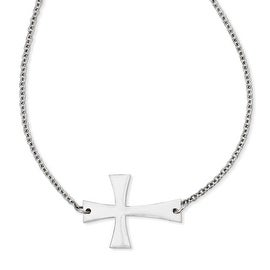 Chisel Stainless Steel Polished Sideways Cross Necklace (3 mm) - 21.75 in