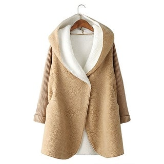 QZUnique Women's Hooded Sweater Coat Winter Jacket Outwear Long Knit Sleeves Cardigan