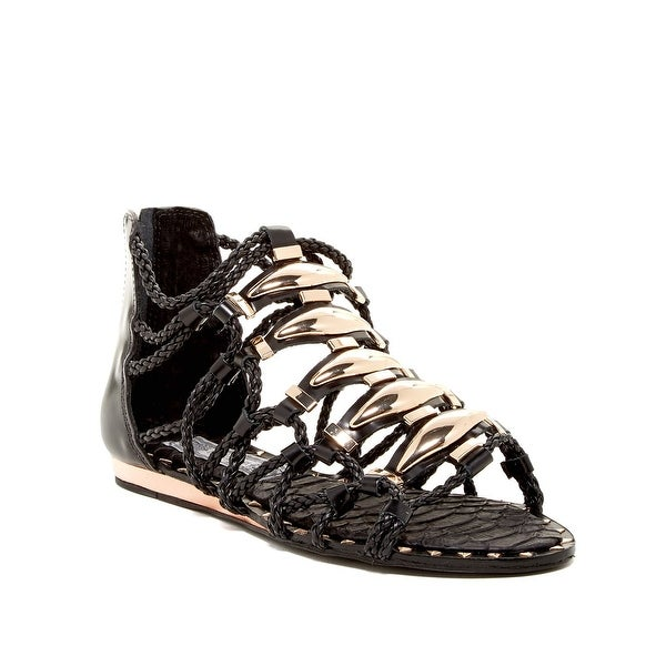 Ivy Kirzhner NEW Black Women Shoes Size 8M Brass Gladiator Sandal