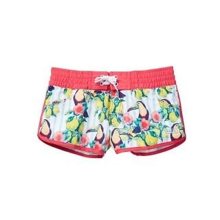 Azul Little Girls Multi Color Sour Toucan Print Elastic Band Swim Shorts