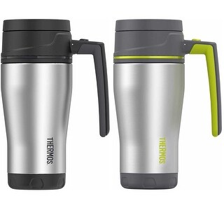 Thermos (2) 16 oz. Stainless Steel Double Wall Travel Mug (Black and Lime)