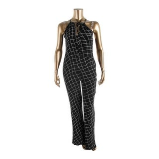Sanctuary Womens Windowpane Sleeveless Jumpsuit