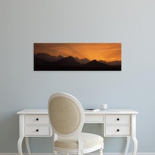 Easy Art Prints Panoramic Image 'Silhouette of mountains at sunset, European Alps, Bavaria, Germany' Premium Canvas Art