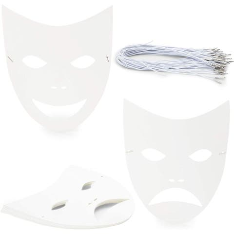 """48 Pack Blank DIY Paper Masquerade Mask with Elastic Band, 8.7"""" x 10"""" White"""