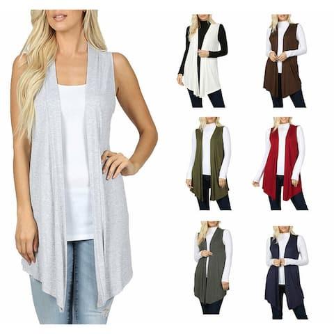 NioBe Clothing Womens Sleeveless Open Draped Lightweight Cardigan Vest