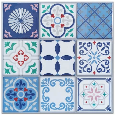 "Art3d 12""x12"" Vinyl Peel and Stick Backsplash Tile (10-Pack) Talavera Mexican Style"