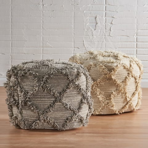 Jucar Handcrafted Boho Wool and Cotton Pouf by Christopher Knight Home