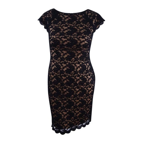 Connected Women's V-Back Lace Dress - Black/Gold