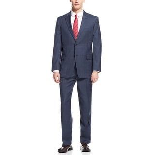 Tommy Hilfiger Keene Trim Fit Navy Blue Plaid Suit 40 Regular 40R Pants 34W