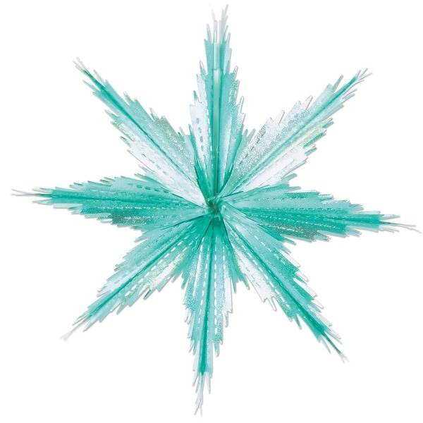 """Club Pack of 24 Silvery Turquoise 2-Tone Metallic Look Christmas Snowflake Decorations - 11.5"""""""
