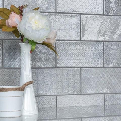 """SomerTile Camden Decor Grey 4"""" x 8"""" Ceramic Wall Tile"""