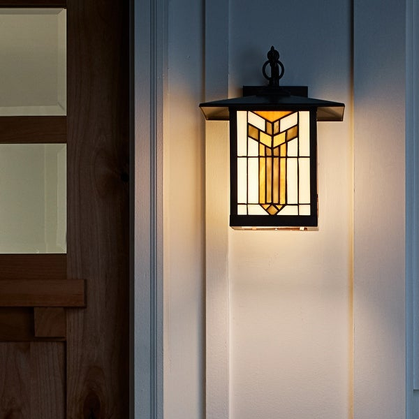 """River of Goods Amber Stained Glass and Oil Rubbed Bronze 1-Light Outdoor Lantern Wall Sconce - 10.75"""" x 9"""" x 11.75"""". Opens flyout."""